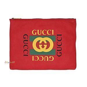 Gucci 500981 Logo Print Medium Leather Pouch